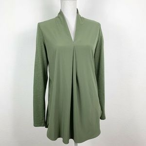 Lucy Small Top Long Sleeved Green Wool Blend